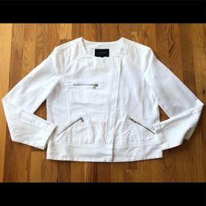 Banana Republic White Linen Blend zipper Jacket